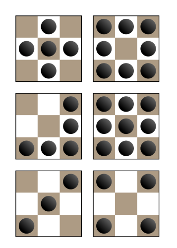 Examples of winning arrangements in chess bowling.