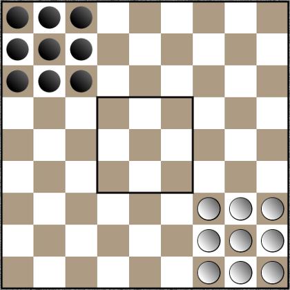 Kręgle szachowe - ustawienie początkowe pionów